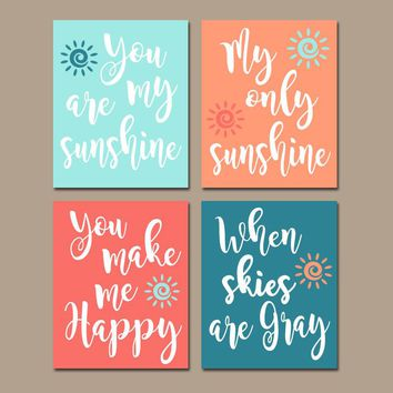CORAL TEAL Nursery Wall Art, You Are My Sunshine Wall Art, CANVAS or Prints, Nursery Rhyme Quote Song, Coral Aqua Baby Crib, Set of 4