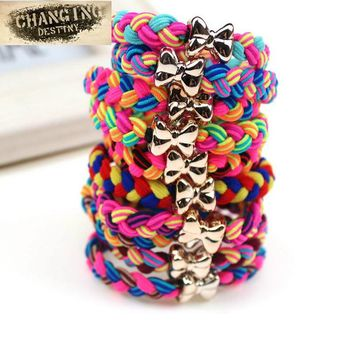 10 Pcs /  Lot Women Ultra Elastic Headband Hairband Ladies Braided Scrunchie Hair Rope Rubber Band Girls Bow Hair Accessories