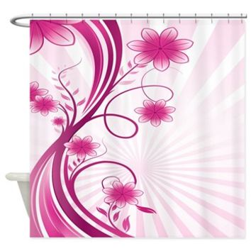 Contemporary Pink Flowers Band Shower Curtain> Pretty Pink Flower Band> Buy Gifts