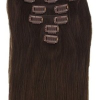 """15"""" Clip in Synthetic Hair Extensions 2# Dark Brown 7pcs 70g"""