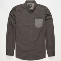 Retrofit Edward Mens Shirt Charcoal  In Sizes