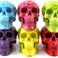 Neon Skull, Custom Color, Halloween Party, Bright Neon Colors, Hipster Decor, Eclectic Home Decor