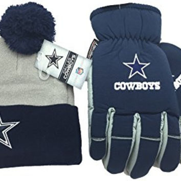 NFL Dallas Cowboys Thinsulate Ski Gloves and Pom Beanie Hat Gift Set Gloves S/M