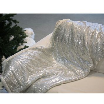 "Winter's Beauty Shimmering Silver Sequined Decorative Throw Blanket 49"" x 67"""