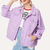Pastel Purple Distressed Denim Jacket