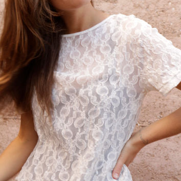 victorian cream BOHO sheer LACE ornate detail CROP by ZiaVintage