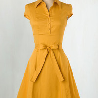 Vintage Inspired Mid-length Cap Sleeves A-line Soda Fountain Dress in Ginger by ModCloth