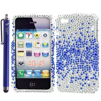 "Luxury Bling Waterfall Snap-on Protective Case Cover Skin for Apple iPhone 4 / 4S - Blue 4.5"" Branded Universal Stylus Pen Included + 2x 4"" Lanyards / Tether Strings -With The Friendly Swede? Retail Packaging"