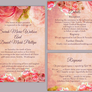 DIY Rustic Wedding Invitation Template Set Editable Word File Download Printable Invitation Boho Wedding Invitation Peonies Invitation