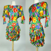 1980s floral silk dress, ruffled bat wing dolman sleeve bright colored long sleeve fit and flare dress, XS, 4 Gillian
