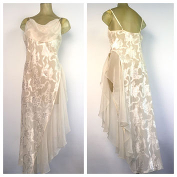 Victorias Secret Vintage Lingerie, Ivory White Chiffon Long Sexy Nightgown, High Side Slit Full Length Nightie Embossed Floral Nightgown M