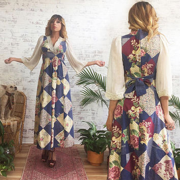 Vintage 1970's Floral PRARIE Joseph Ribkoff Dress || Patchwork Quilt Print || Bell Sleeves || Folk Maxi Dress || Size Small