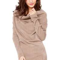 Cowl Neck Sweater Dress in Mocha