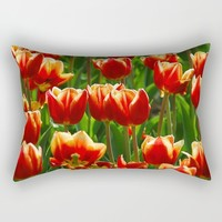 Red Tulips Rectangular Pillow by Claude Gariepy