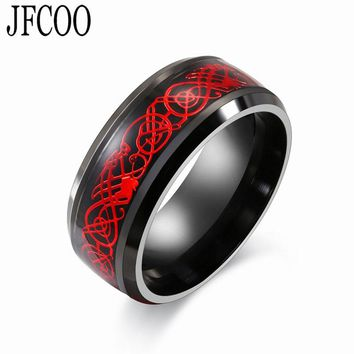 Stainless steel  Black  Ring Red Dragon Mens Womens Wedding Jewelry