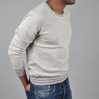 folk - crew neck light loop sweatshirt grey brown melange
