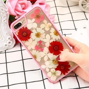 iPhone Case With Real Dry Pressed Genuine Flowers For iPhone 7 6 6s Plus Clear Soft TPU Back Cover