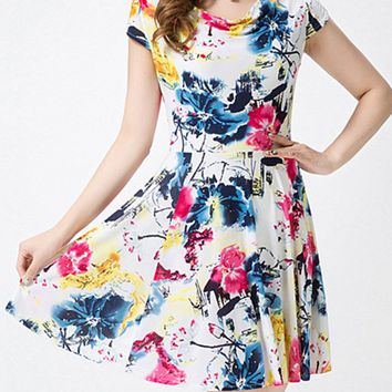 Streetstyle  Casual Cowl Neck Skater Dress In Floral Printed