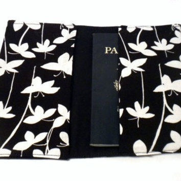 Flower Passport Case Black and white flower by redmorningstudios