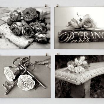 Black and White Photography Set, Romantic Photography, Still Life, Rose Photography, Paris, Garden, Cottage, Shabby Chic Art, French Country