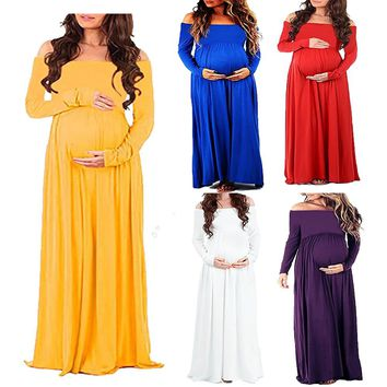 Maternity Clothing Photography Props Pregnancy Dress Shoulderless Long sleeve Maternity Dress For Photo Shooting Pregnant Dress