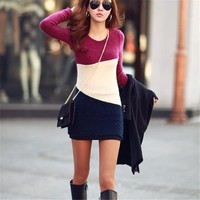 Women Pullover Long Sleeve Knitted Sweater Dress Colorful All-Matched Spring & Autumn Dress Fashion Slim Dress Sweater
