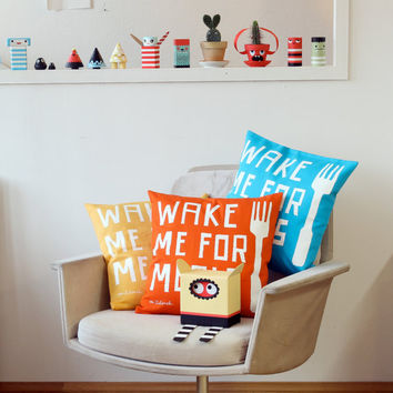 Wake Me For Meals, Pillowcase, red, yellow, aqua