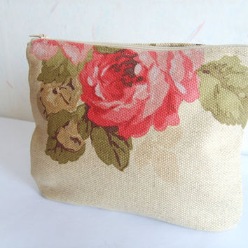 Cosmetic bag, romantic purse, rose clutch, linen purse, canvas small bag