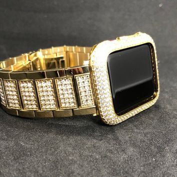 Apple Watch Band Womens Mens Gold Stainless Rhinestone 38mm/40mm 42mm/44mm Series 1 2 3 4/Case Cover Bezel Lab Diamond Crystal Iwatch Bling