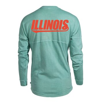 Official NCAA University of Illinois Fighting Illini U of I Women's Long Sleeve Spirit Wear Jersey T-Shirt