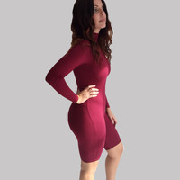 Red Long Sleeve Bodycon Romper