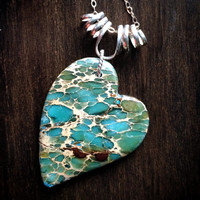 "Aqua Terra Jasper Heart Sterling Silver Pendant Necklace - ""Skyview"""