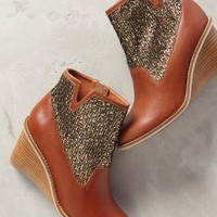 Schuler & Sons Wedge Booties Brown Motif