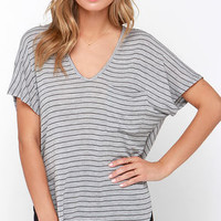 Thinking of You Grey Striped Tee