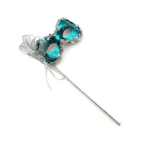 Angelina Teal Women's Masquerade Mask on a Stick - B-0123