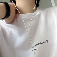 REMEMBER? NO. Tumblr Inspired Text Box Teen White Graphic Shirt