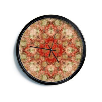 "Justyna Jaszke ""Mandala Love Art"" Red Pastel Abstract Pattern Digital Illustration Modern Wall Clock"