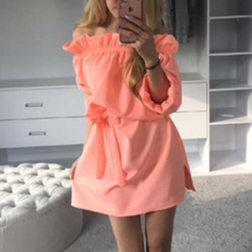 Candy Fluorescent Color Ribbon Dress