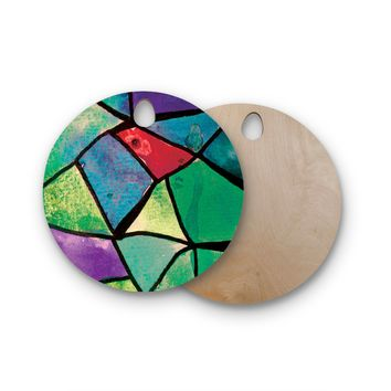 "Theresa Giolzetti ""Stain Glass 1"" Round Wooden Cutting Board"