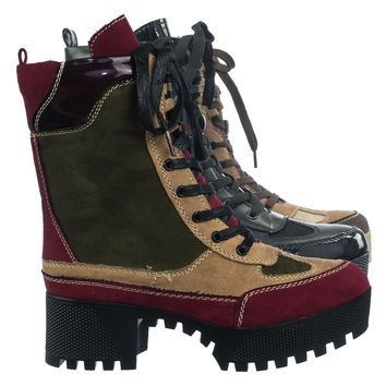 Powerful06 F-Fur Lining Lightweight Block Heel Lugsole Color Block Combat Boot