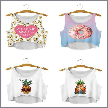 Crop Tops - All I Care About Is Pizza. Donut. Pineapple. Tank Tops