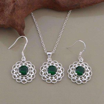 Deepest Green CZ Sterling Silver Filigree Medallion Matching Necklace and Earrings Set