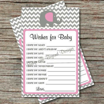 Baby Shower Game Instant Download Wishes for Baby Advice Printable PDF Dear Baby Elephant Gum Pink Grey Chevron Girl Baby Shower Game - 009