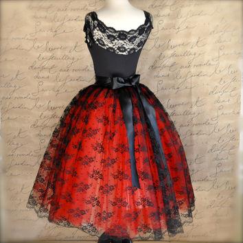 Black lace and red  tulle tutu skirt. French black chantilly lace over lined full tutu skirt. Your choice of two tulle colors.