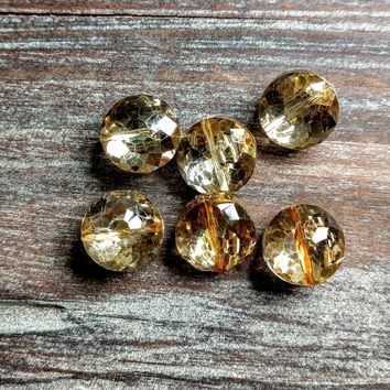 CCOIN-010 - Chinese Crystal Coin Beads, Gold, 7x12mm | Pkg 6