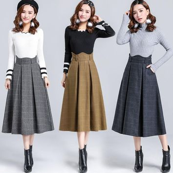 Free New Fashion Women Wollen Skirt Casual A-line Long Mid-calf Skirts Winter Warm Plaid Thick Skirts Blue Khaki