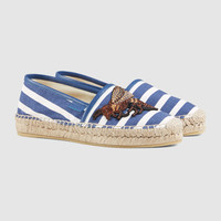 Gucci Embroidered canvas espadrille