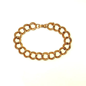 Classic Double Curb Link Chain Bracelet Gold Filled Charm Starter