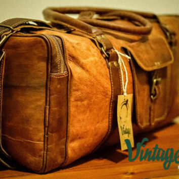 Vintage Handmade Goat Leather Rustic Duffel Bag Square 22''