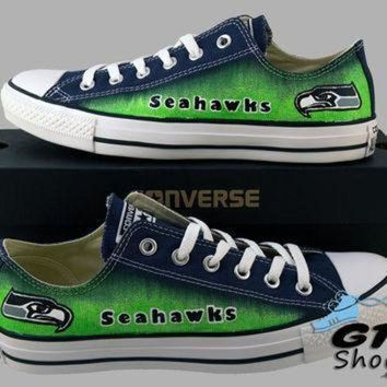 LMFON hand painted converse low sneakers seattle seahawks go hawks football superbowl 12